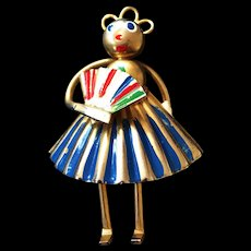 Sweet Vintage Whimsy Brooch Lady with Fan