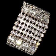 Gorgeous Spectacular Wide Sparkling Vintage a Rhinestone Bracelet Fit for a Bride