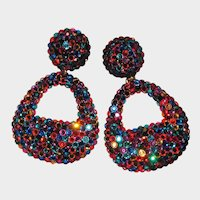 Giant Runway Rhinestone Earrings Color Explosion
