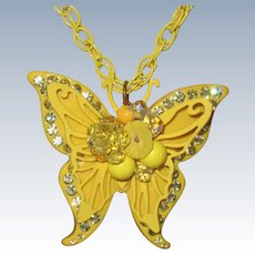 Retro 1970 Yellow Butterfly Pendant Large