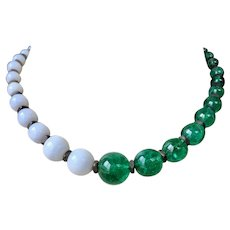 Vintage Louis Rousselet Green Poured Glass Two Tone Necklace