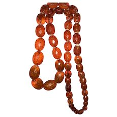 1920s Large Faceted Baltic Amber Beads Necklace
