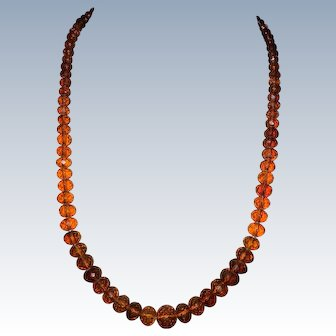 Art Deco Faceted Baltic Amber Beads Necklace