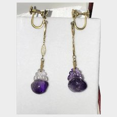14K 1920's Art Deco Chinese Hand Carved Amethyst Earrings