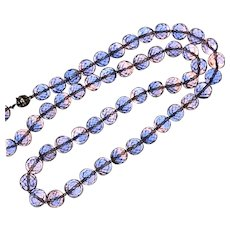 Vintage Two ToneCrystal Beads Necklace Pink Blue Colors Rhinestone Clasp