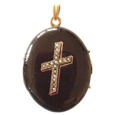 Victorian Enamel Mourning Locket Cultured Seed Pearls Cross Motif