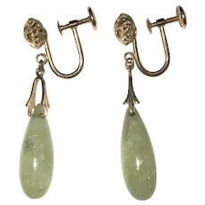 14K Gold Celadon Green Jade Drop Earrings Vintage