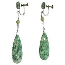 Art Deco Natural Jadeite Jade Carved Long Drop Earrings