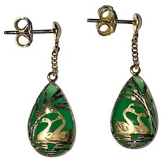 14K Yellow Gold Jade Swan Earrings