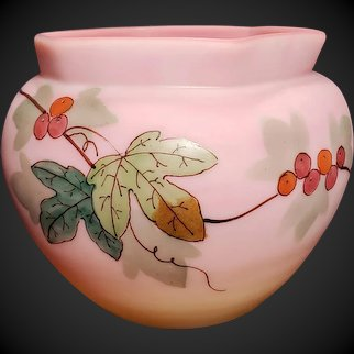 Antique Thomas Webb Burmese Vase Ivy & Berries CURRANT Hand Painted Hexagon