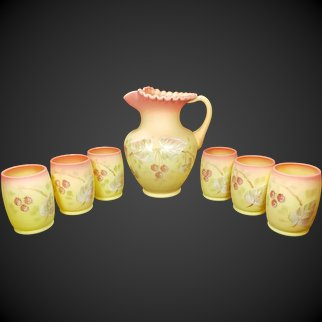 Fenton Burmese Water Pitcher and 6 Tumblers Set Raspberry Pattern for 1990 85th Anniversary
