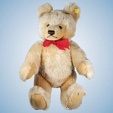 """1982 Steiff Teddy Bear Beige Tan 19"""" with Red Bow and Jointed EAN 0201/51"""