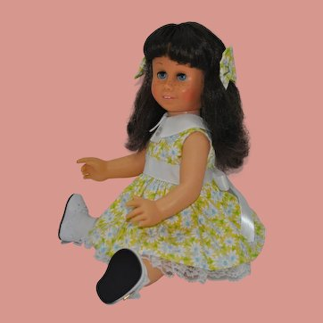 "Vintage 1960's hard face, brunette pigtail Chatty Cathy #5 body 20"" tall"