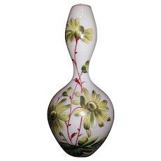 Large Luminous Bristol Vase Milk White Raised Enamel Botanicals