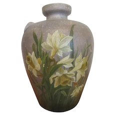 Vase Primitive Terra Cotta Clay Farmhouse Rustic Daffodil Vessel