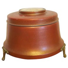 Vintage Coppertone Footed Musical Powder Box- Plays Umbrella Man