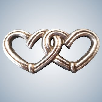 Vintage Taxco Double Entwined Sterling Heart Brooch