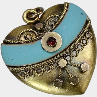 Victorian Blue Enameled Heart with Imitation Ruby Glass Pendant