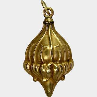 Antique Belle Epoque Style Art Nouveau Period 10K Gold Repoussé Passion Flower Pendant