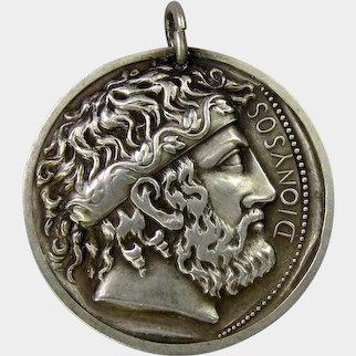 Old Greek God Dionysus Sterling Silver Medal Pendant