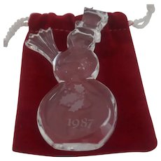 Orrefor's - 1987 Clear Crystal Snowman Ornament