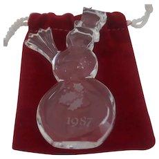 Orrefor's - 1987 Clear Crystal Snowman Ornament