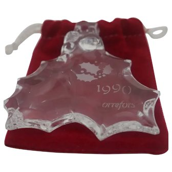 Orrefor's - 1990 Clear Crystal Holly Berry Leaves
