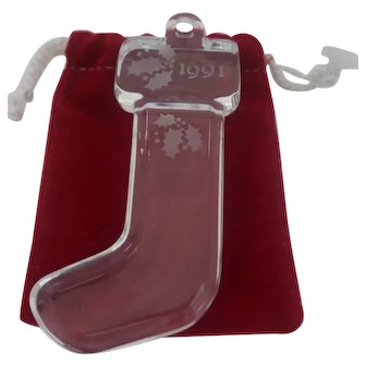 Orrefor's - Clear Crystal 1991 Christmas Stocking Ornament