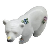 Lladro - Attentive Polar Bear with Flowers #06354