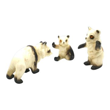 Porcelain Miniatures - 3 Piece Set Panda Bears