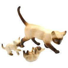 Porcelain Miniatures - 3 Piece Set Siamese Cats
