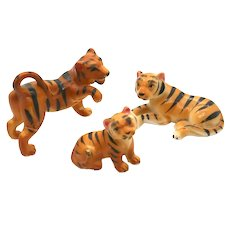 Porcelain Miniatures - 3 Piece Set Tigers
