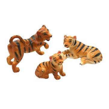 Porcelain Miniatures - 3 Piece Set Tigers