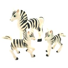 Porcelain Miniatures - 3 Piece Set Zebras