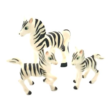 Porcelain Miniatures - 3 Piece Set Zebras