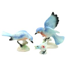 Porcelain Miniatures - 3 Piece Set Bluebirds