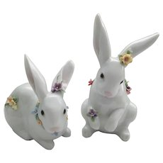 Lladro - Sitting Bunny and Attentive Bunny with Flowers