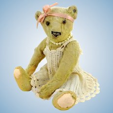 "Antique Steiff teddy bear, prewar ff button, produced 1905 – 1933, 10"", well-loved, restored"