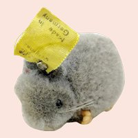 Steiff woolen miniature mouse with IDs + swivel head, grey, 1950s vintage