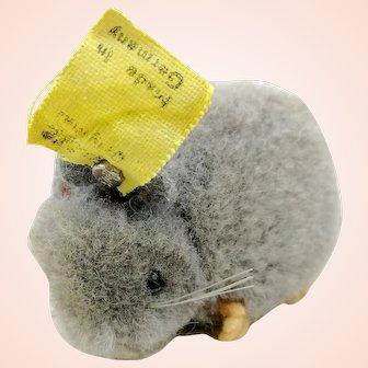 Steiff woolen miniature mouse with IDs + swivel head, grey, 1950s vintage