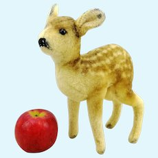 "Steiff fawn deer, button, vintage 1949 to 1953 only, 9"" wool plush"