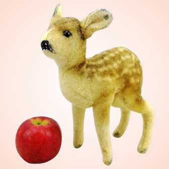 """Steiff fawn deer, button, vintage 1949 to 1953 only, 9"""" wool plush"""