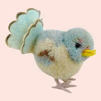 Steiff woolen pigeon with IDs, vintage 1965 to 1967, pompom bird