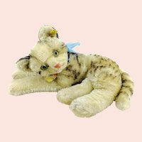 "Steiff cat Fiffy all IDs, largest 10"" lying tabby, 1955 to 62"