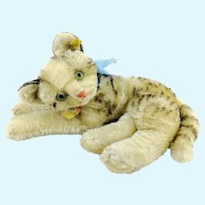 """Steiff cat Fiffy all IDs, largest 10"""" lying tabby, 1955 to 62"""