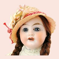 "Antique 12"" bisque head doll, German 1910s, rare Recknagel, makers mark"