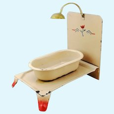 1920s Dollhouse Tin Bathtub with shower on platform with rear panel