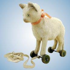 "Steiff cat on wheels, made 1923 to 1927, 7"", restored"