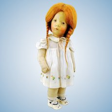 Kathe Kruse doll redhead girl, Small German Child, 1930s fabric head, 14""