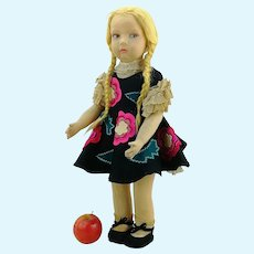 """Lenci doll 23"""" tall, 109 series in original clothes, made 1926 to 1930s"""